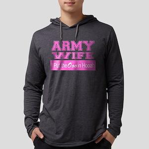 Army Wife Ooo in Hooah_Pink Mens Hooded Shirt
