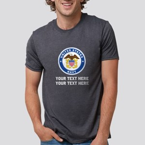 US Navy Emblem Customized Mens Tri-blend T-Shirt