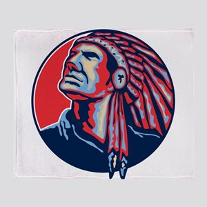 Native American Indian Chief Retro Throw Blanket