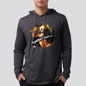 Ghost Rider Flames Mens Hooded Shirt