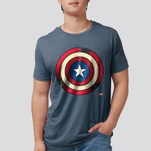 Captain America Comic Shiel Mens Tri-blend T-Shirt