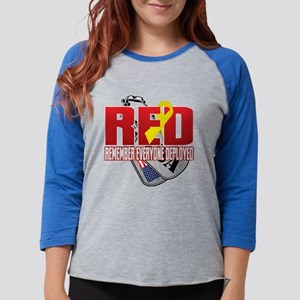 RED: Dog Tags Womens Baseball Tee