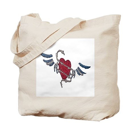 LEATHER HEART-WINGS-TILED Tote Bag