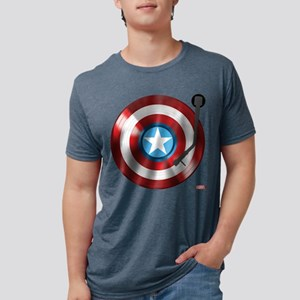 Captain America Vinyl Shiel Mens Tri-blend T-Shirt