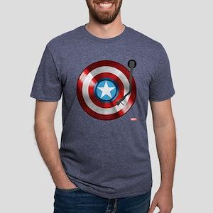Captain America Vinyl Shiel Mens Tri-blend T-Shirt