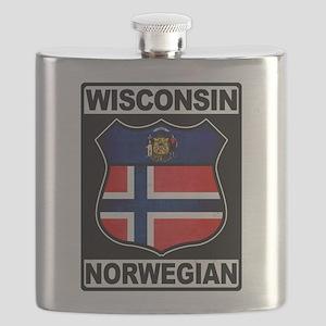 Wisconsin Norwegian American Flask