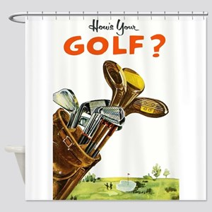 Golf Bag, Retro, Vintage Poster Shower Curtain