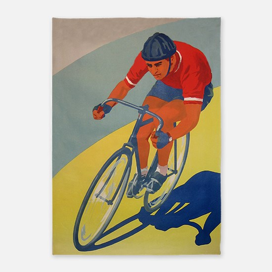 Cycling, Bicycle, Racer, Vintage Poster 5'x7'Area
