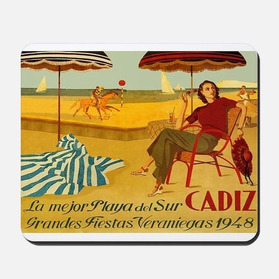 Cadiz, Spain, Travel, Vintage Poster Mousepad