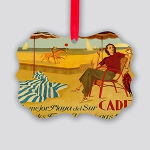 Cadiz, Spain, Travel, Vintage Poster Ornament