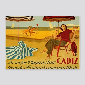 Cadiz, Spain, Travel, Vintage Poster 5'x7'Area Rug