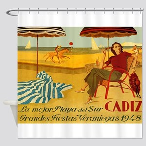 Cadiz, Spain, Travel, Vintage Poster Shower Curtai