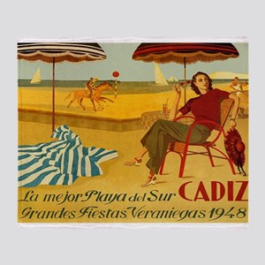 Cadiz, Spain, Travel, Vintage Poster Throw Blanket
