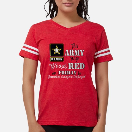 Army Wife Wears Red Womens Football Shirt