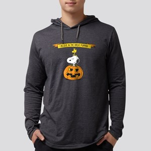Peanuts Believe in the Great Pum Mens Hooded Shirt