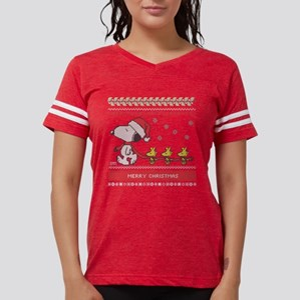 Snoopy Ugly Christmas Green Womens Football Shirt