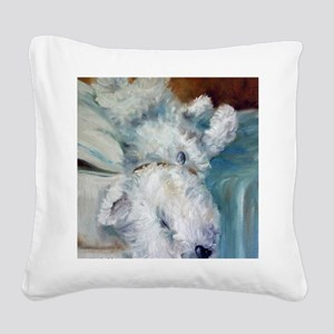 Bed Hog Square Canvas Pillow