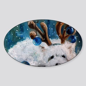 Blue Christmas Sticker (Oval)