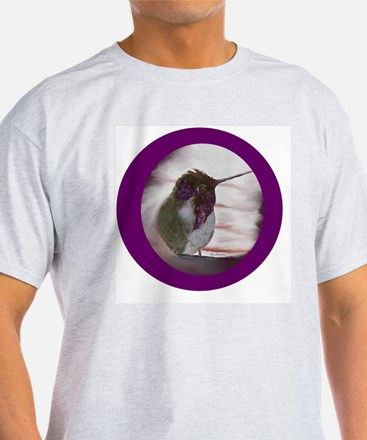 Hummingbird on Window Seal on Purple T-Shirt
