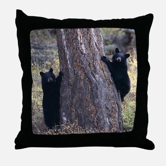 black bear cubs Throw Pillow