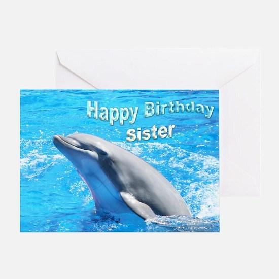Happ Birthday Sister Dolphin Greeting Card