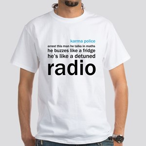 OK Computer Karma Police words blue and black T-Sh