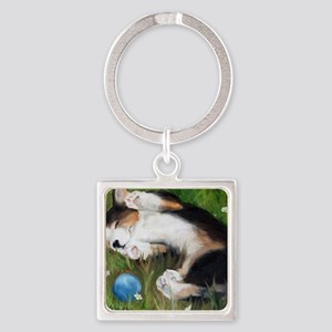 Bliss in the Grass Square Keychain