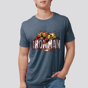 Iron Man Flying Mens Tri-blend T-Shirt