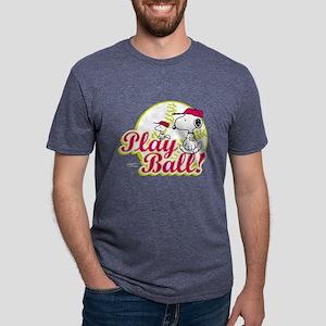 Snoopy - Play Ball Mens Tri-blend T-Shirt