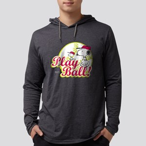 Snoopy - Play Ball Mens Hooded Shirt
