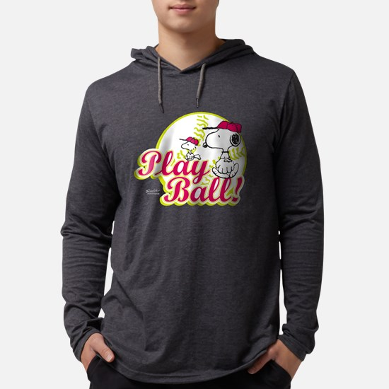 Snoopy - Play Ball Mens Hooded Shirt