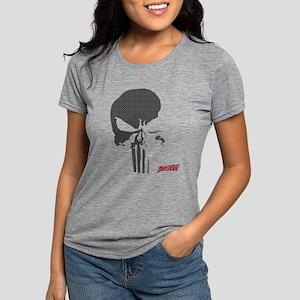 Punisher Skull Grid Womens Tri-blend T-Shirt