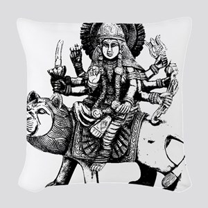 Durga Black Woven Throw Pillow
