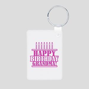 Happy Birthday Grandma Aluminum Photo Keychain
