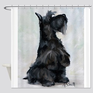 """""""Please"""" Scottish Terrier Shower Curtain"""