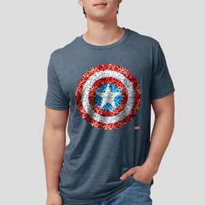 Captain America Pixel Shiel Mens Tri-blend T-Shirt