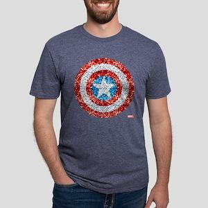 Captain America Pixel Shiel Mens Tri-blend T-Shirt