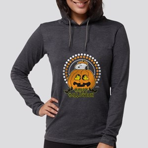 SnoopyPumpkin-Dark Womens Hooded Shirt