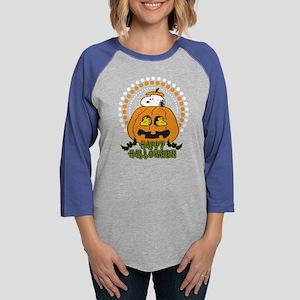 SnoopyPumpkin-Dark Womens Baseball Tee