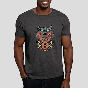 Sugar Skull Owl Color Dark T-Shirt