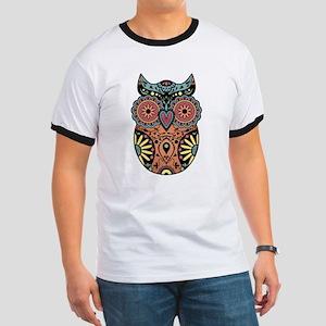 Sugar Skull Owl Color Ringer T-Shirt