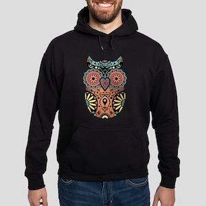 Sugar Skull Owl Color Hoodie (dark)