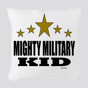 Mighty Military Kid Woven Throw Pillow
