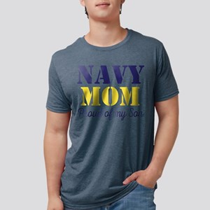 Navy Mom Proud of Son Mens Tri-blend T-Shirt