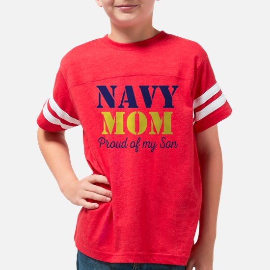 Navy Mom Proud of Son Youth Football Shirt