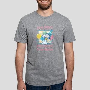 Peanuts Happy Birthday Pink Mens Tri-blend T-Shirt