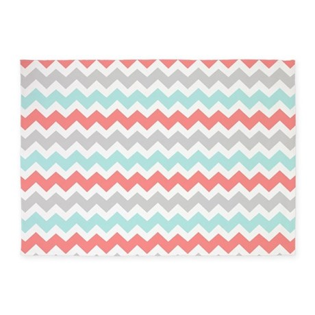 Coral Aqua Grey Chevron 5 X7 Area Rug By Dreamingmindcards
