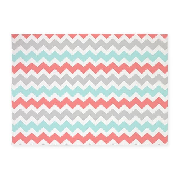Coral Aqua Grey Chevron 5'x7'Area Rug By DreamingMindCards