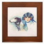 Art Deco Flapper And Borzoi Framed Tile