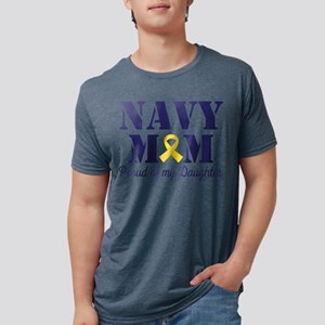 Navy Mom Proud Of Daughter Mens Tri-blend T-Shirt